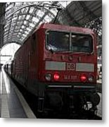 Red Train To The Main Train Station In Frankfurt Am Main Germany Metal Print