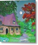 Red Tree Cottage At Dusk Metal Print