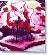 Red Trees In Love Metal Print