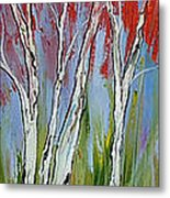 Red Trees Of Autumn Metal Print