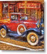 Red Truck Photo Art Metal Print