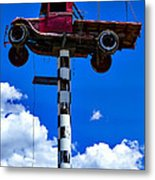 Red Truck With Cross Metal Print
