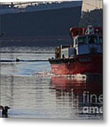 Red Tug Boat Metal Print