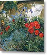 Red Tulips And Geese  Metal Print