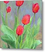 Red Tulips Colorful Painting Of Flowers By K. Joann Russell Metal Print
