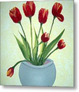 Red Tulips In A Pot Metal Print