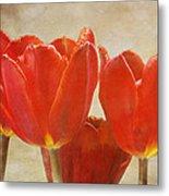 Red Tulips In Art Metal Print