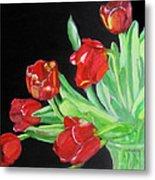 Red Tulips In Vase Metal Print