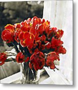 Red Tulips In Window Metal Print