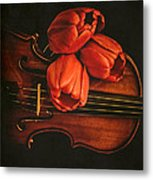 Red Tulips On A Violin Metal Print