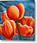Red Tulips On Blue Metal Print