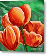 Red Tulips On Green Metal Print