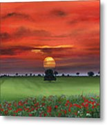 Red Tuscan Sunrise With Poppy Field Metal Print