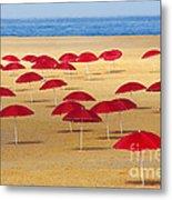 Red Umbrellas Metal Print by Carlos Caetano