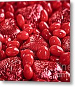 Red Valentine Candy Hearts Metal Print