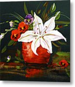 Red Vase With Lily And Pansies Metal Print