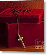 Red Velvet Box With Cross And Rosary Metal Print