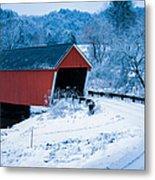 Red Vermont Covered Bridge Metal Print