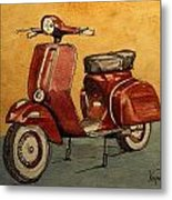 Red Vespa Metal Print