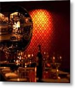 Red Wall And Dinner Table Metal Print