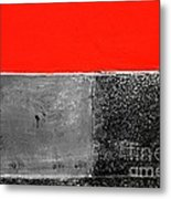 Red Wall In Black And White Metal Print