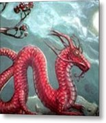 Red Water Dragon And Tree Metal Print