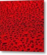 Red Water Drops On Water-repellent Surface Metal Print