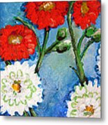 Red White And Blue Flowers Metal Print