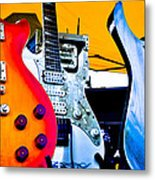 Red White And Blue Guitars Metal Print by David Patterson
