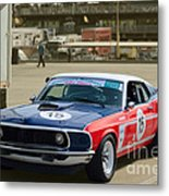 Red White And Blue Mustang Metal Print