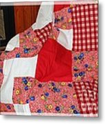 Red White And Gingham With Flowery Blocks Patchwork Quilt Metal Print