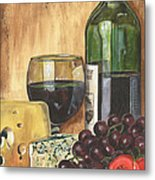 Red Wine And Cheese Metal Print by Debbie DeWitt