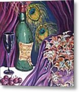 Red Wine And Peacock Feathers Metal Print