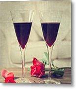 Red Wine And Roses Metal Print