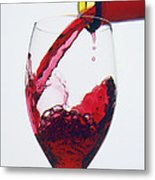 Red Wine Being Poured  Metal Print