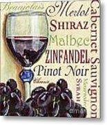 Red Wine Text Metal Print by Debbie DeWitt
