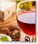 Red Wine With Cheese Metal Print by Amanda Elwell