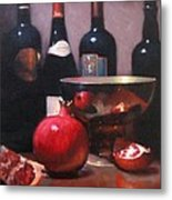 Red Wine With Pomegranates Metal Print