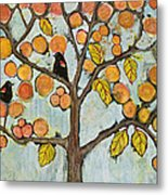 Red Winged Black Birds In A Tree Metal Print