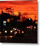 Red Winter Sunset Over Long Island Suburbs Metal Print