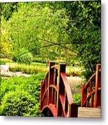 Red Wooden Bridge Metal Print