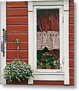 Red Wooden House With Plants In And By Metal Print