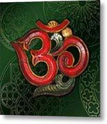Red Wooden Om Green Mandala Metal Print