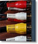 Red Yellow And White Cables Metal Print