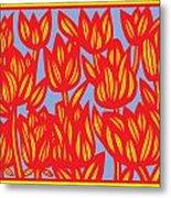 Red Yellow Blue Art Print Botanical Drawing Flowers Line Drawing Flower Botanical Print Art Botan Metal Print