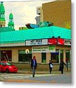 Rediscover Your Greenspot Notre Dame St Henri Dogs Et Frites Urban Food City Scenes Carole Spandau  Metal Print