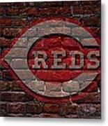 Reds Baseball Graffiti On Brick  Metal Print