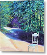 Redwood Path And White Chair Metal Print