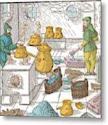 Refining Sulphur, 16th Century Metal Print