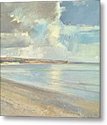 Reflected Clouds Oxwich Beach Metal Print